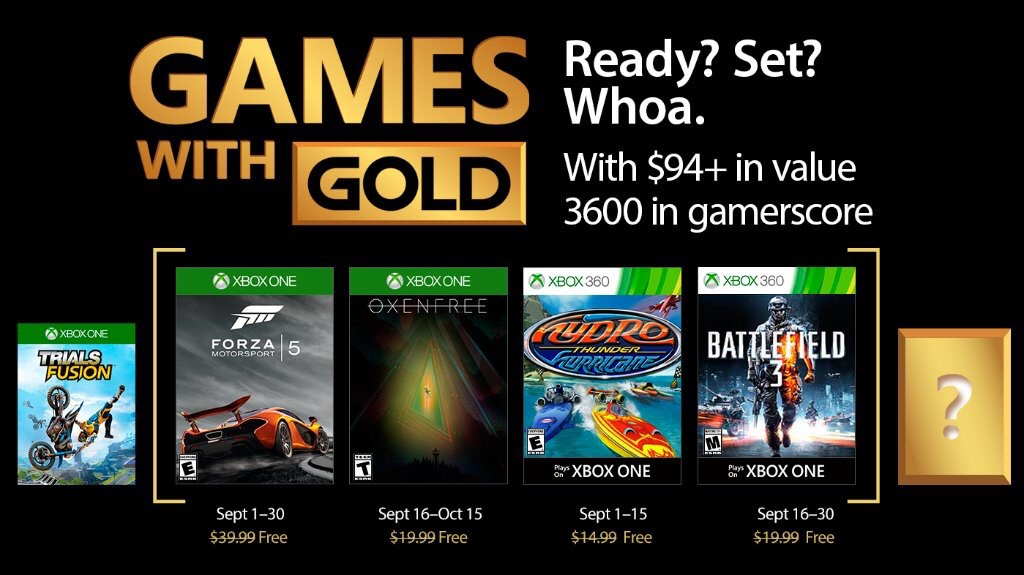 Games with Gold for September 2017